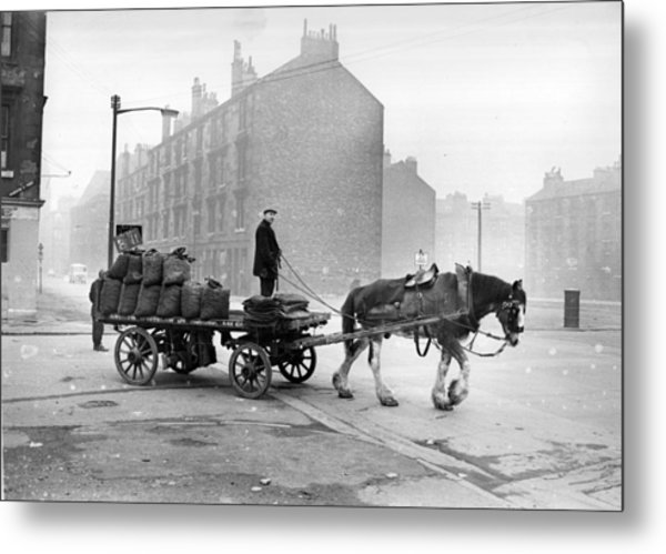 Coalman And Cart Metal Print by Albert McCabe