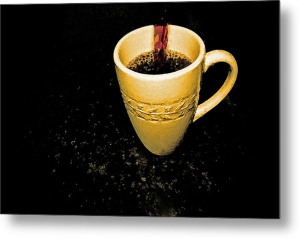 Coffee In The Big Yellow Cup Metal Print