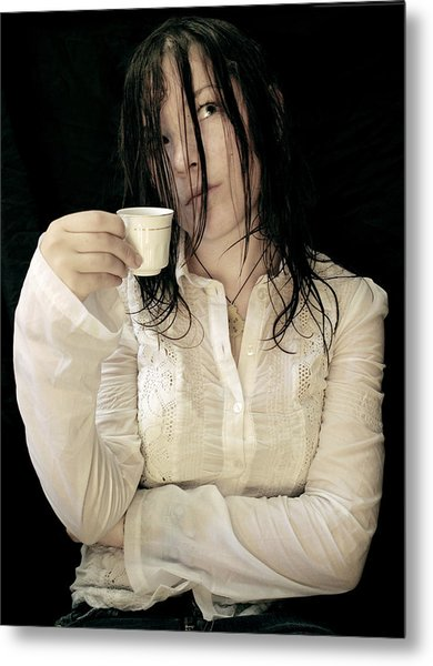 Coffee Meditation Metal Print by Zhanna Vozbranna