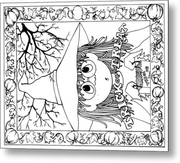 Color Me Card - Halloween Metal Print