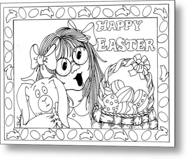 Color Me Card - Easter Metal Print
