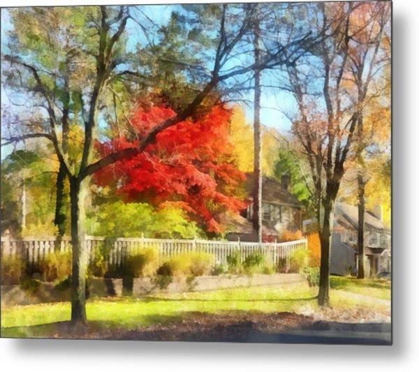 Colorful Autumn Street Metal Print by Susan Savad