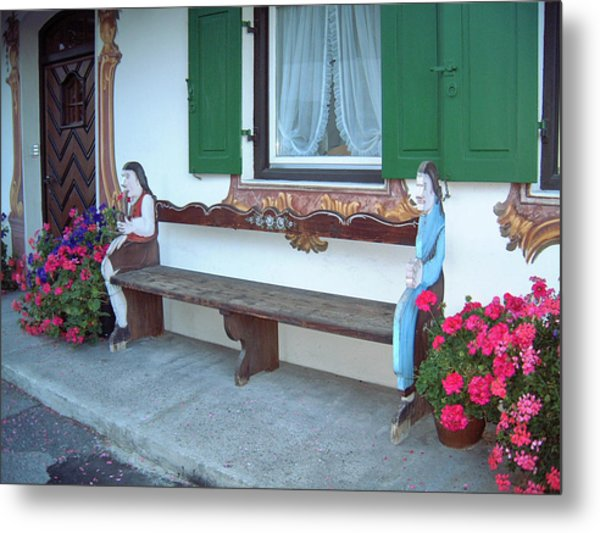 Colorful Bench Garmisch Germany Metal Print