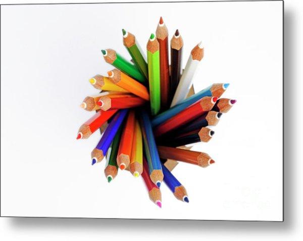 Colorful Crayons In Jar Metal Print by Sami Sarkis