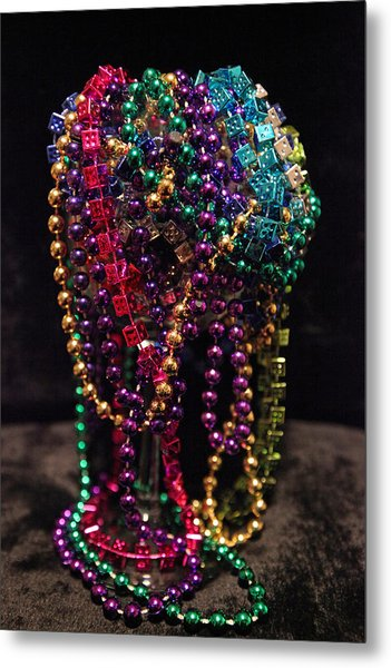 Colorful Mardi Gras Beads Metal Print