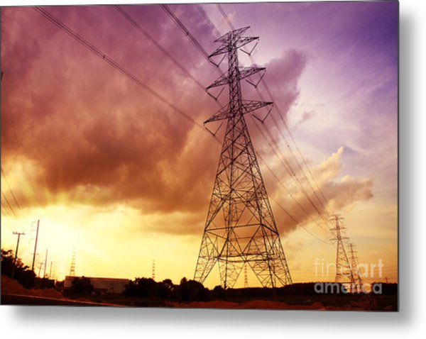 Colorful Sunset Of Energy And Power. Metal Print