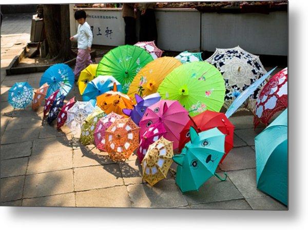 Colorful Umbrellas Metal Print by John Wong