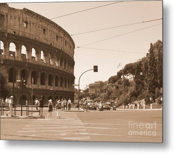 Colosseum In Sepia Metal Print