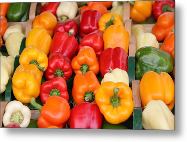 Colourful Peppers Metal Print by Kim French