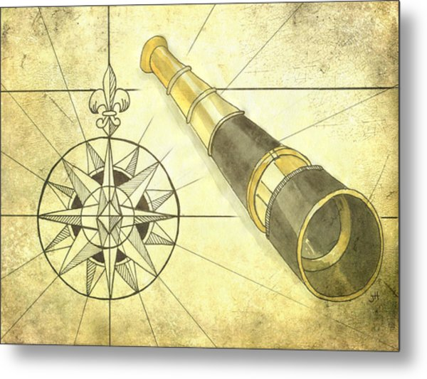 Compass And Monocular Metal Print