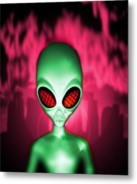 Computer Artwork Of An Alien Or Extraterrestrial Metal Print by Victor Habbick Visions
