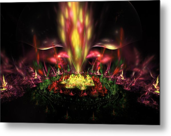 Computer Generated Red Yellow Green Abstract Fractal Flame Metal Print
