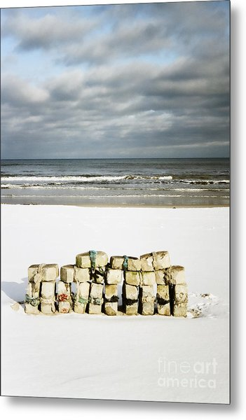 Concrete Bricks On A Snowy Beach Metal Print