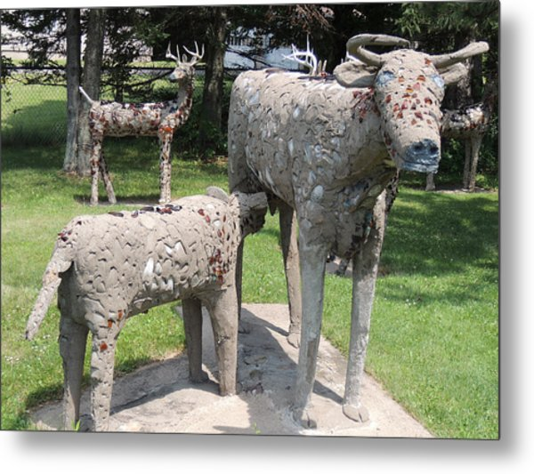 Concrete Calf And Cow Metal Print by Peg Toliver