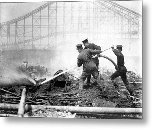 Coney Island, The Dreamland Fire, Men Metal Print by Everett