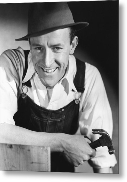 Construction Worker Wirth Hammer Metal Print by George Marks