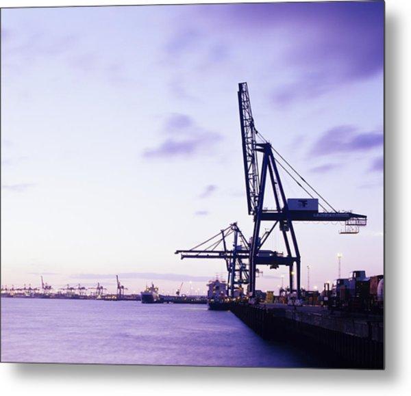 Container Cranes Metal Print