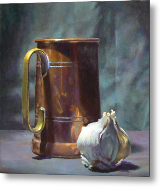 Copper And Garlic Metal Print by Jeffrey Hayes