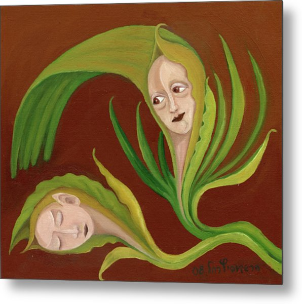 Corn Love Fantastic Realism Faces In Green Corn Leaves Sleeping Or Dead Loving Or Mourning Gree Metal Print