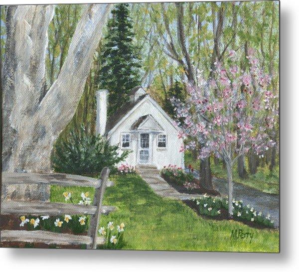 Cottage In Spring Metal Print