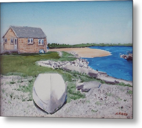 Cottage On The Marsh Metal Print by Anthony Ross