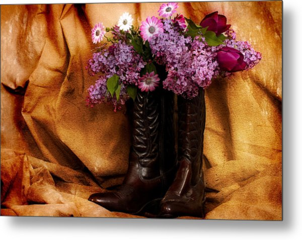 Country Boots And Flowers Metal Print by Trudy Wilkerson