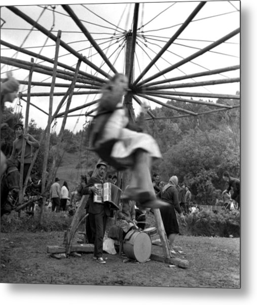 Country Fair Swings With Accordion Metal Print