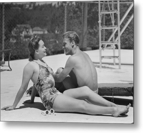 Couple At Poolside Metal Print by George Marks