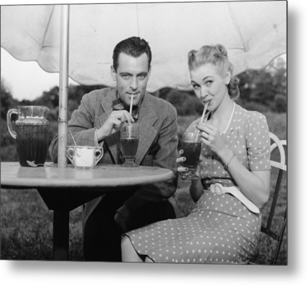 Couple Having Ice Tea Outdoors, (b&w), Portrait Metal Print by George Marks