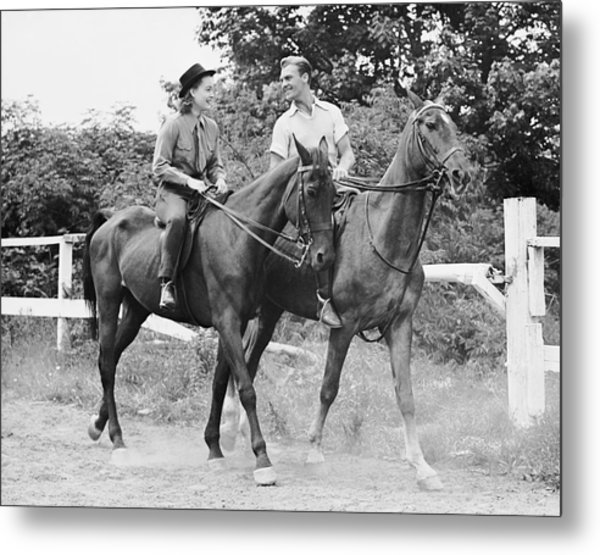 Couple Horseback Riding Metal Print by George Marks