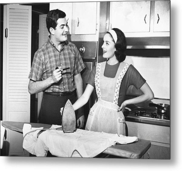 Couple Ironing Metal Print by George Marks