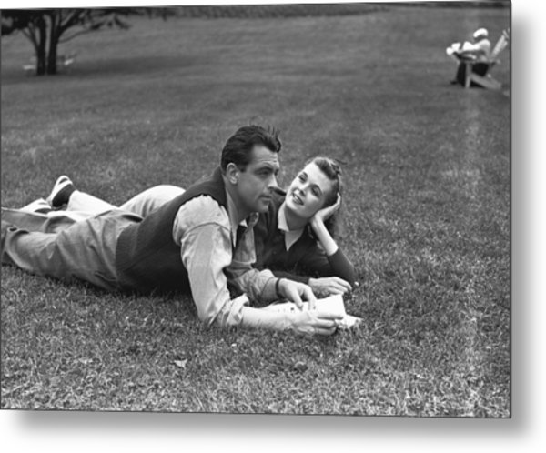 Couple Lying On Grass, (b&w) Metal Print by George Marks