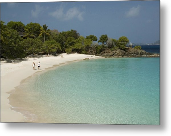 Couple On Beach In Caneel Bay Resort, Turtle Bay Metal Print by Margie Politzer
