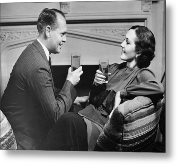 Couple On Couch Having Drinks Metal Print by George Marks
