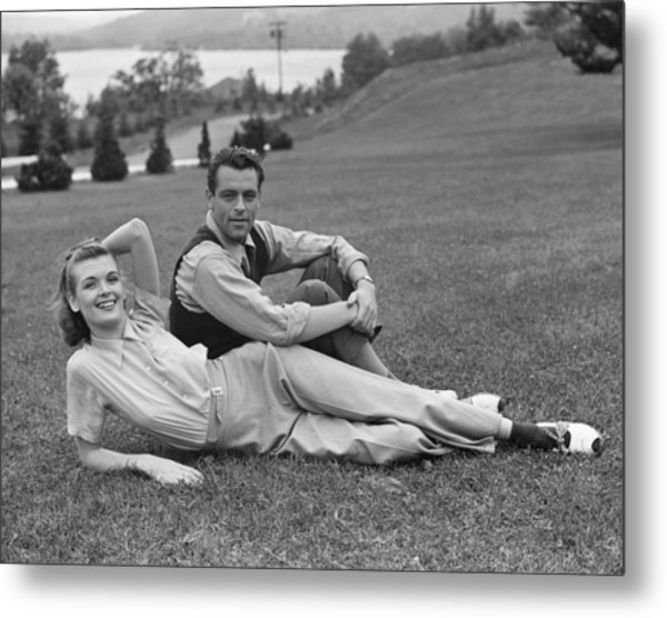 Couple On Lawn Metal Print by George Marks