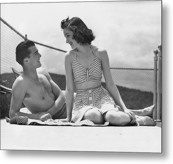 Couple Relaxing On A Sailboat Metal Print by George Marks