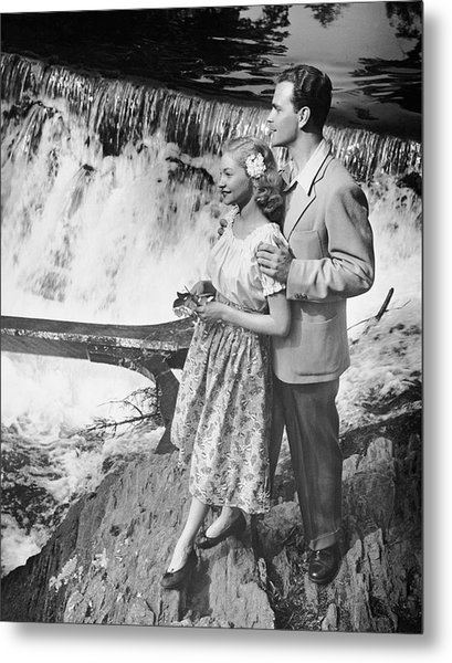 Couple Standing Near Waterfall Metal Print by George Marks