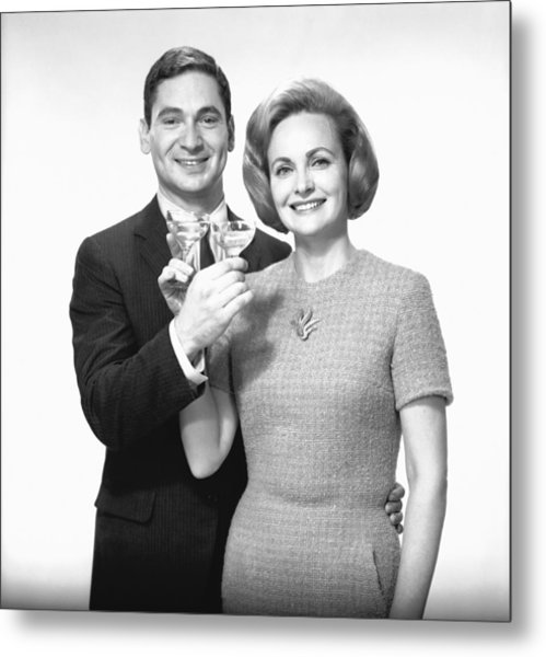 Couple Toasting Champagne In Studio, (b&w),, Portrait Metal Print by George Marks