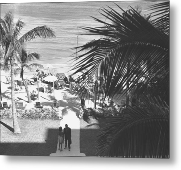 Couple Walking In Path Towards Beach, (b&w), Elevated View Metal Print by George Marks