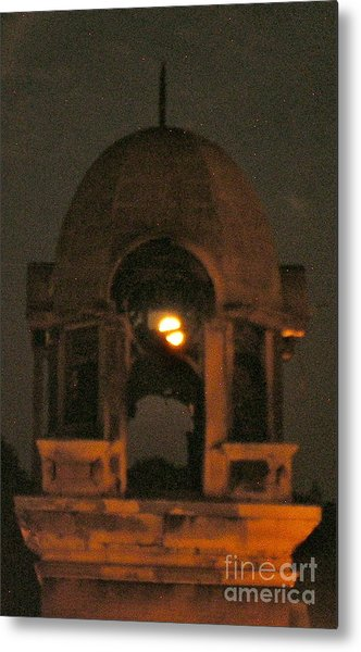 Courthouse Tower In Full Moon Metal Print by Tina Ann Byers