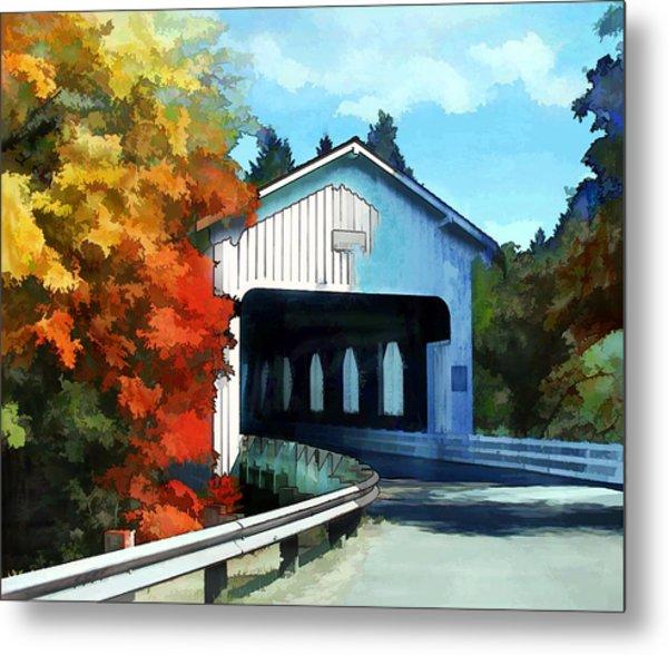Covered Bridge On Colorful Autumn Drive Metal Print