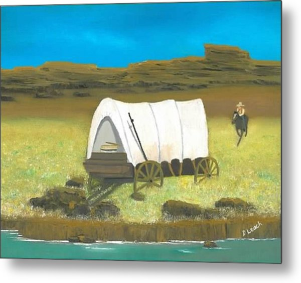 Covered Wagon Metal Print by Donna Leach