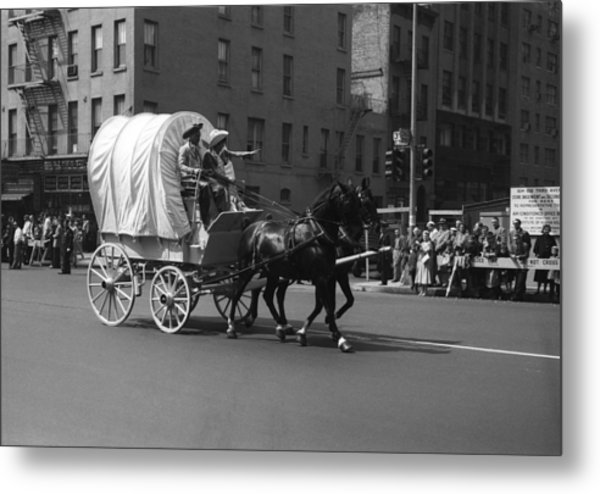Covered Wagon On Street During Parade Metal Print by George Marks