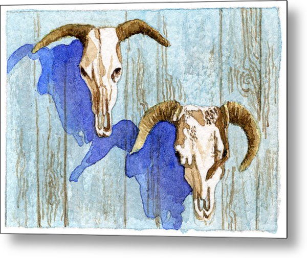 Cow Heads Metal Print by Eunice Olson