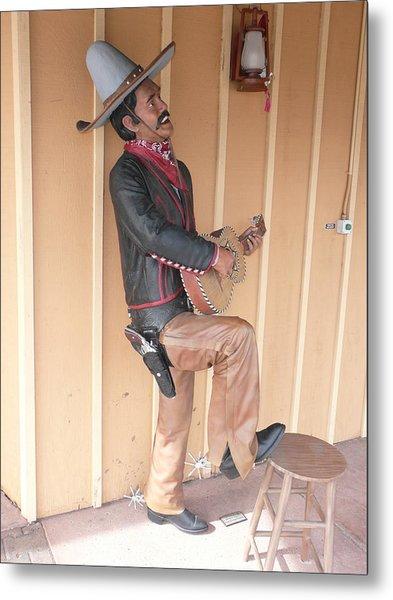 Cowboy Statue Metal Print