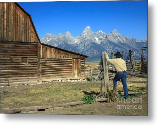 Cowboy With Grand Tetons Vista Metal Print