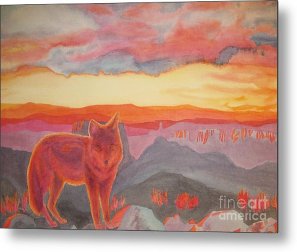 Coyote Cliff Metal Print by Vikki Wicks