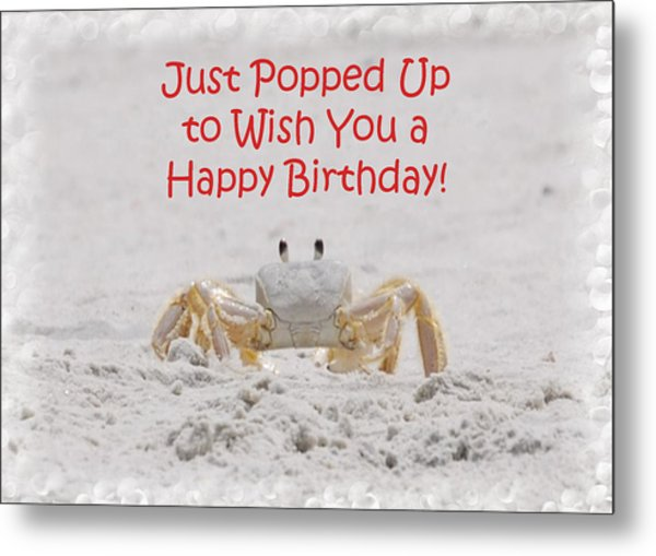 Crab Happy Birthday Metal Print