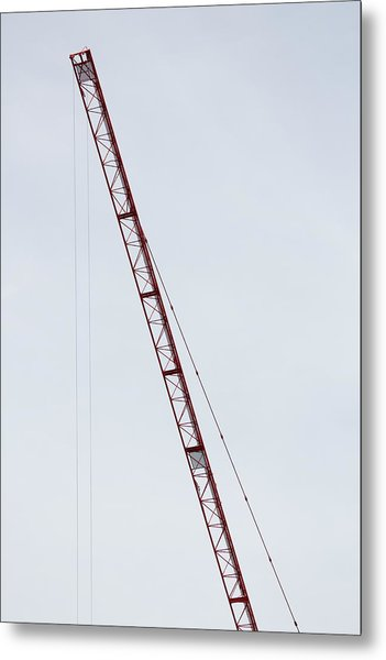 Crane Red Arm Metal Print by Bogdan Constantin Petrovici