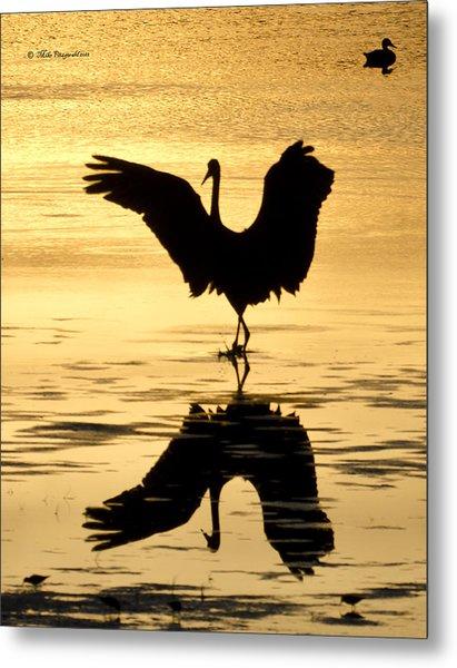 Crane Silhouette Metal Print